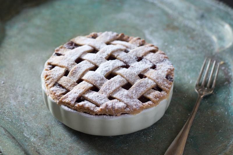 lattice apple pie close up
