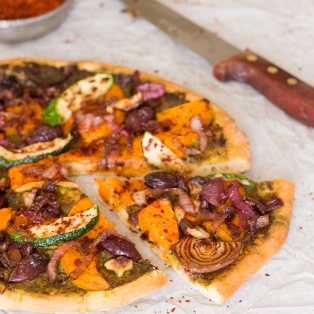 vegan pizza with pumpkin slice out