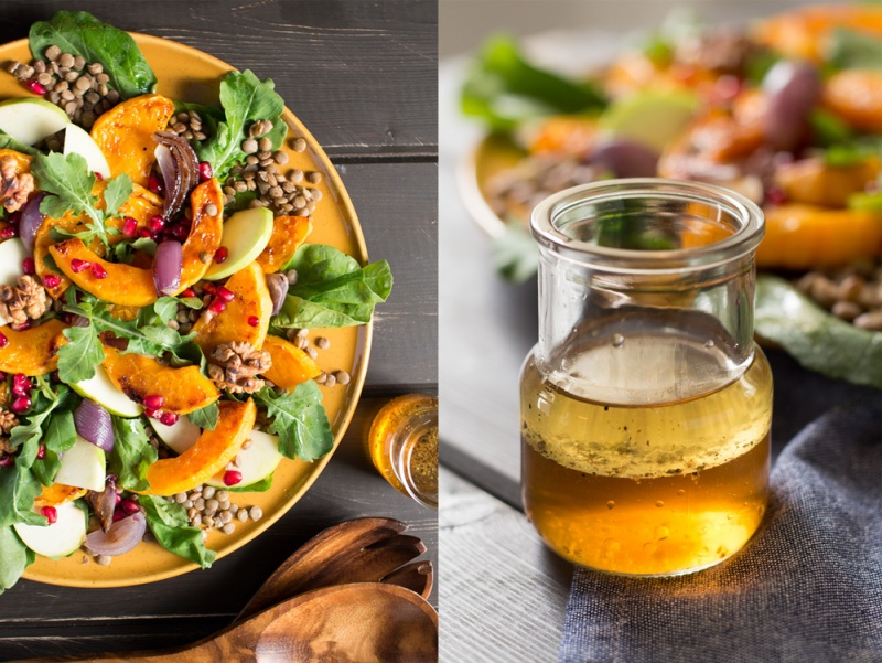 warm butternut squash salad and walnut dressing