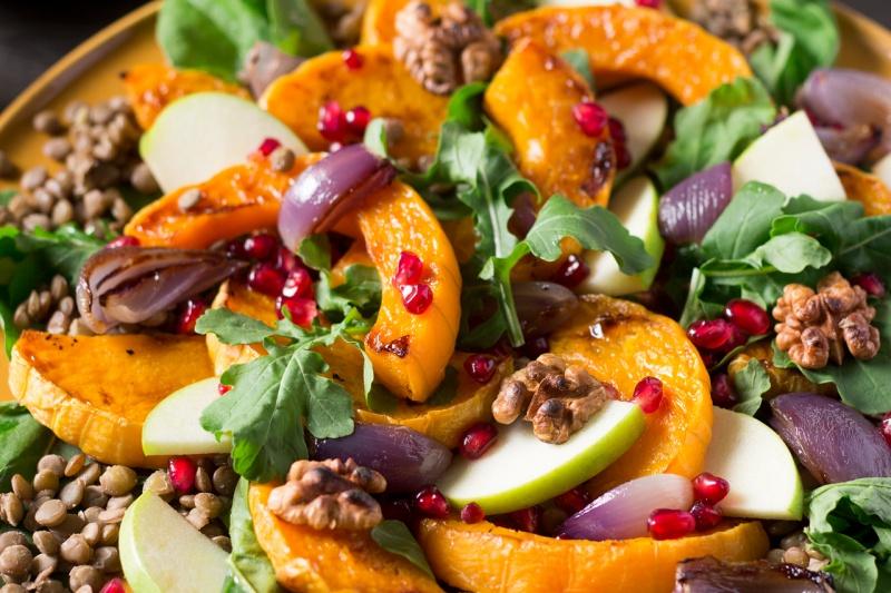 warm butternut squash salad closeup