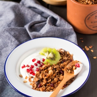 apple hazelnut and cranberry granola breakfast