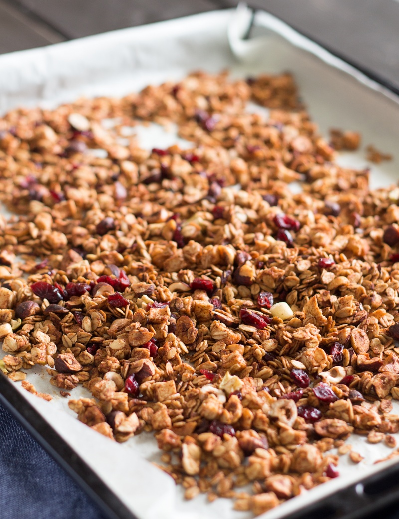 low fat granola on a tray
