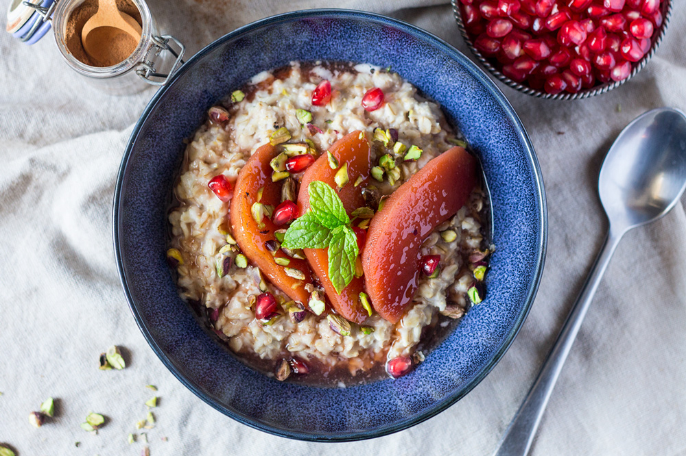 Autumn Porridge With Poached Quince