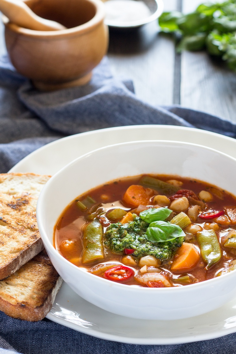 photo Vegetable Soup with Parsley Pesto Recipe