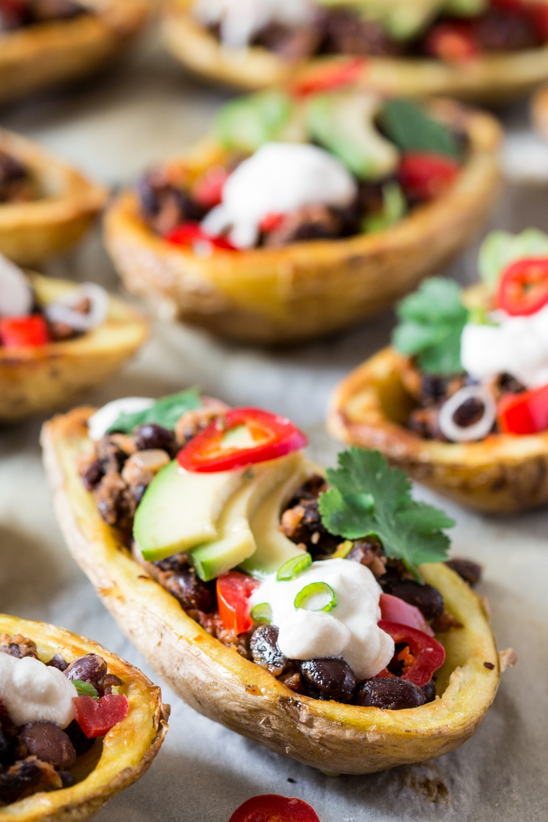 mexican potato skins close up