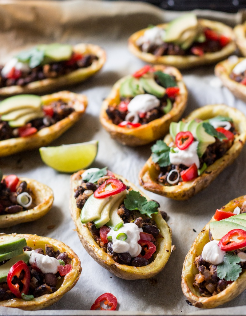 mexican potato skins on a baking tray