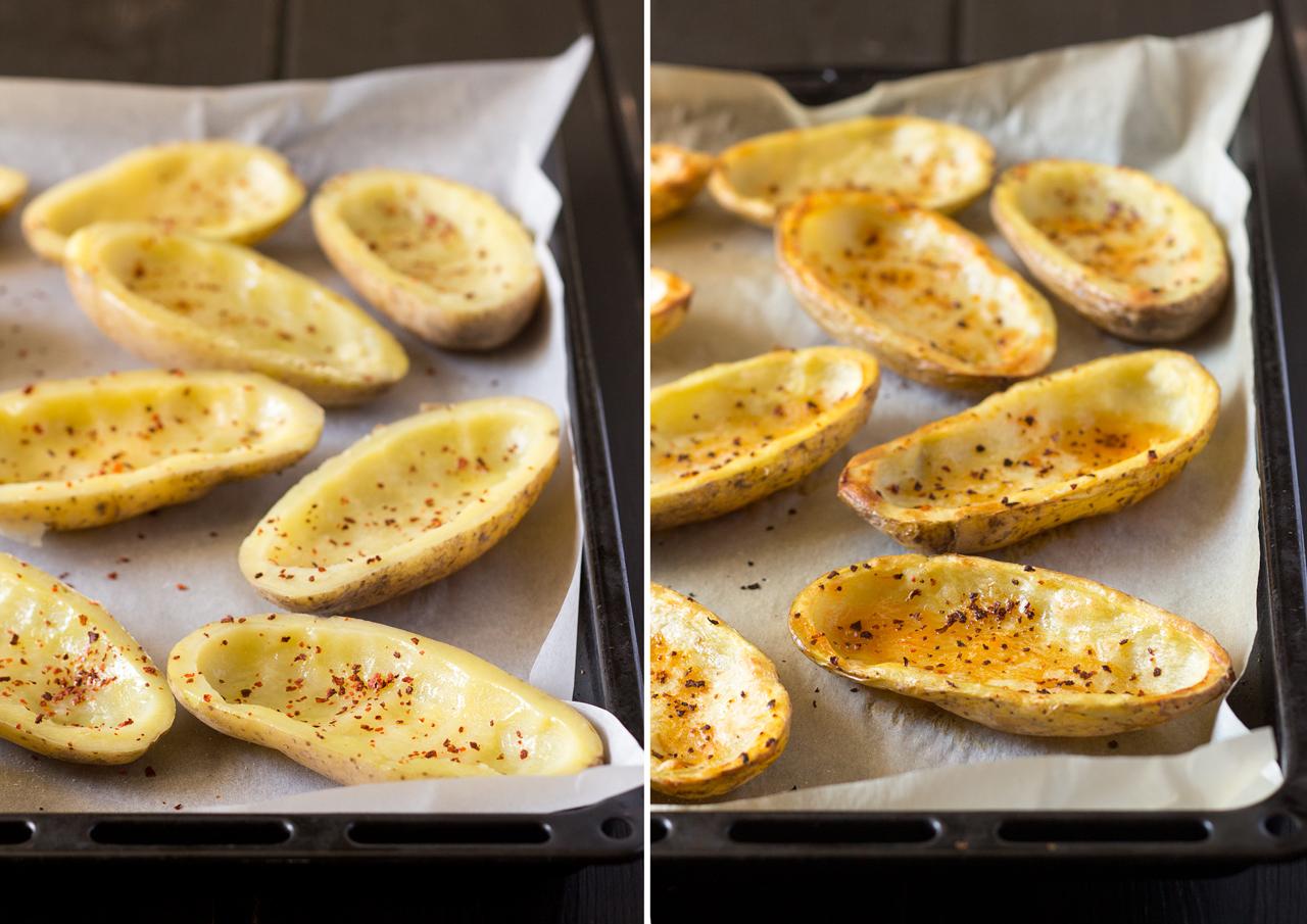 łódki z ziemniaków przed i po