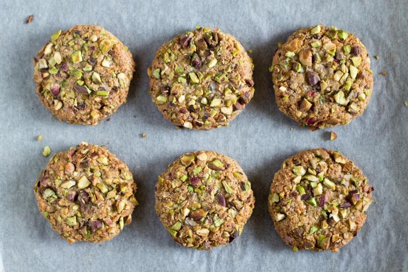 vegan flourless pistachio cookies baked