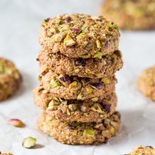 vegan flourless pistachio cookies stack
