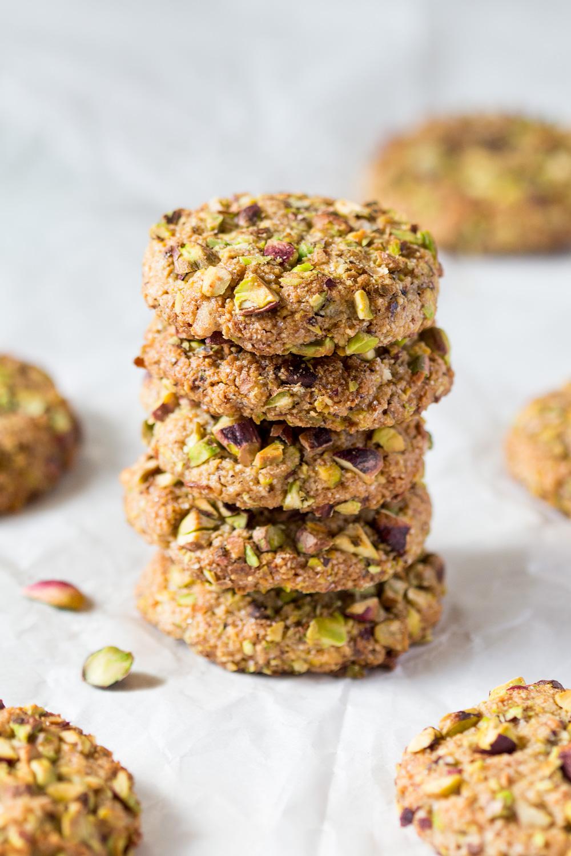 Vegan flourless pistachio cookies - Lazy Cat Kitchen