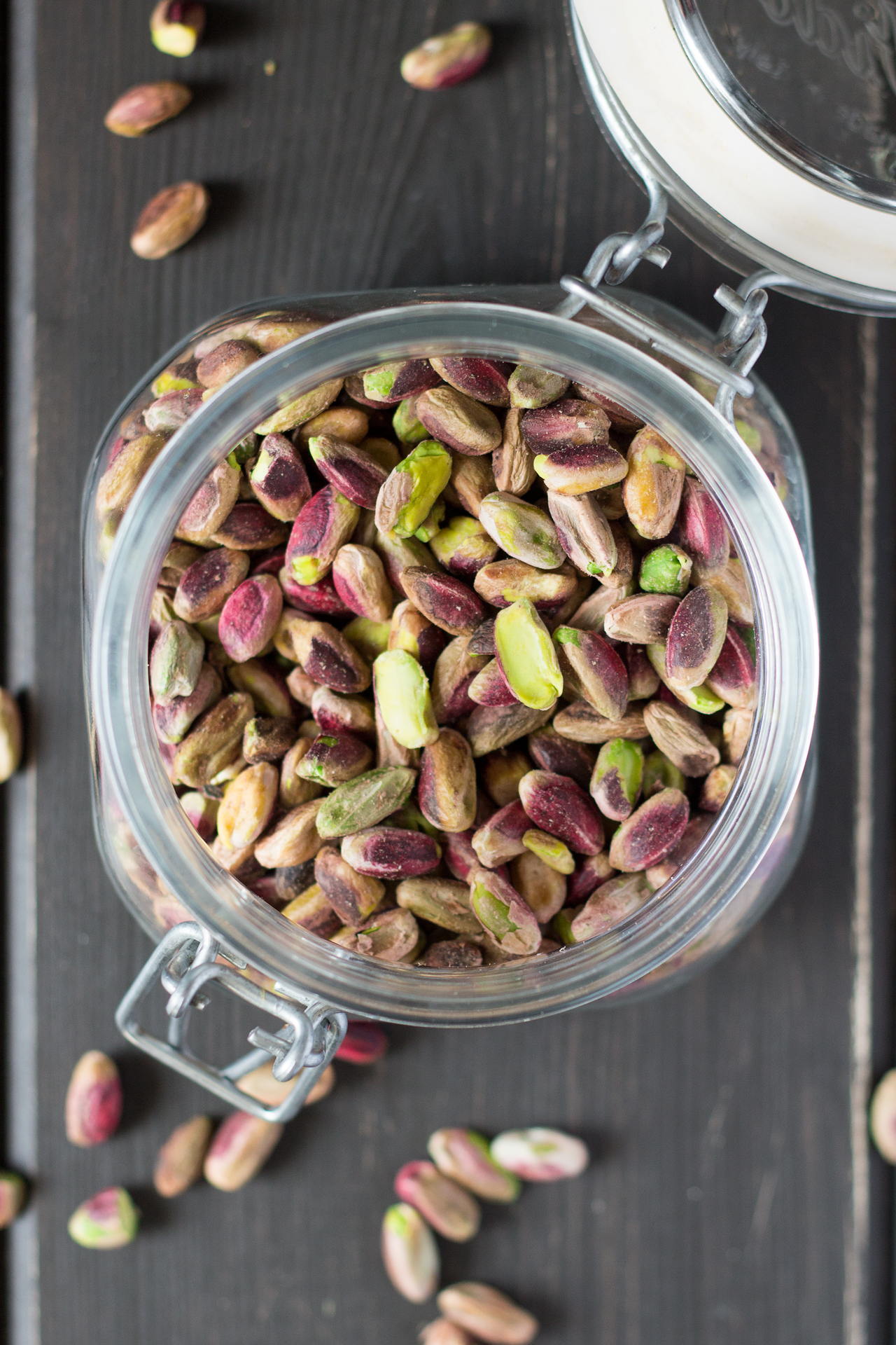 whole pistachios in a jar