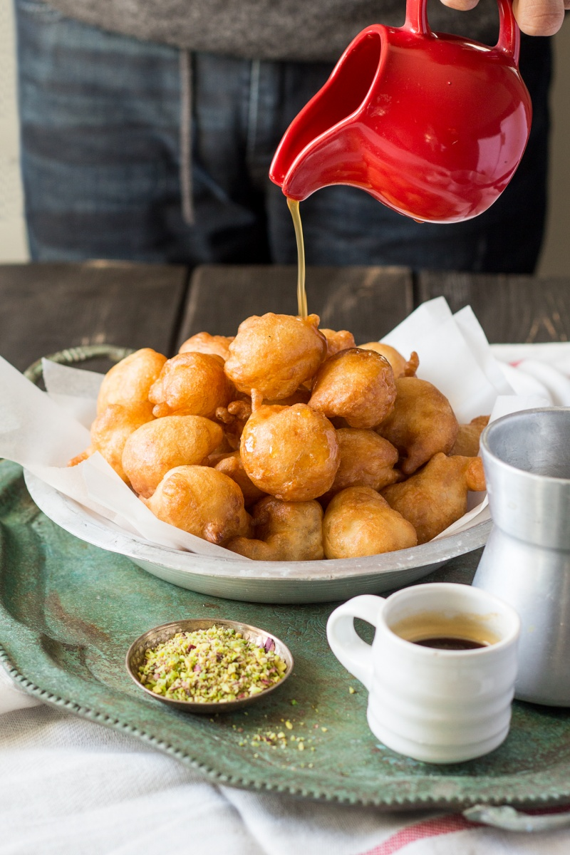 loukoumades greek doughnuts glazing