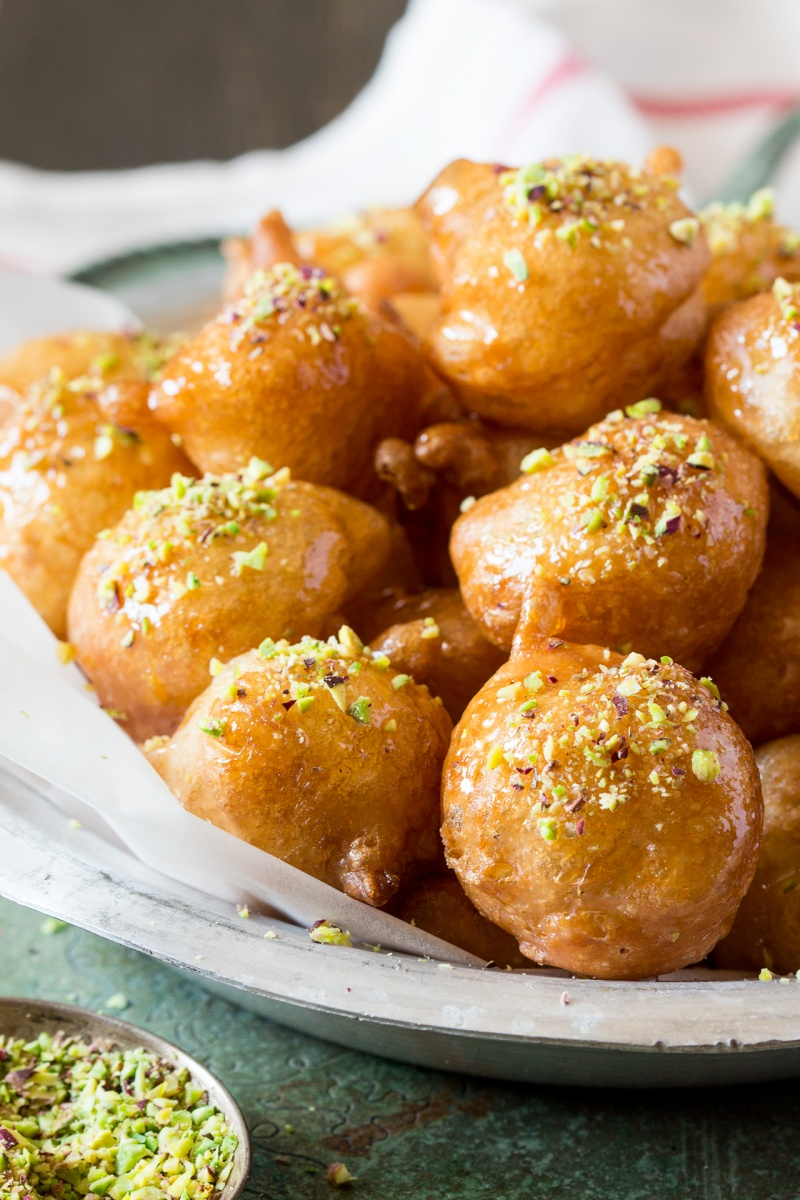 loukoumades greek doughnuts side