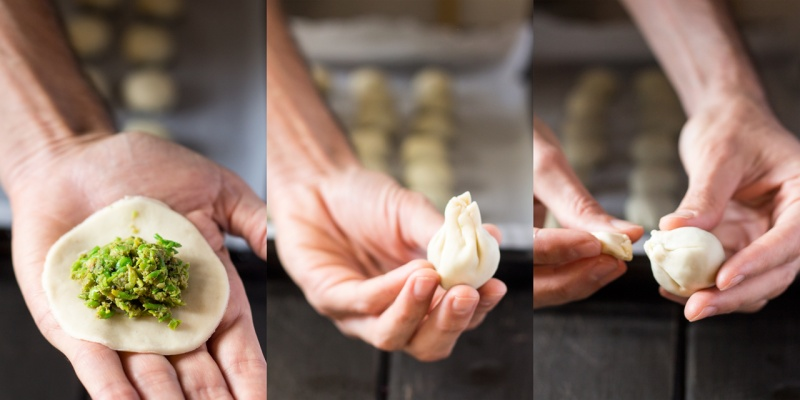 baked pea kachori step by step