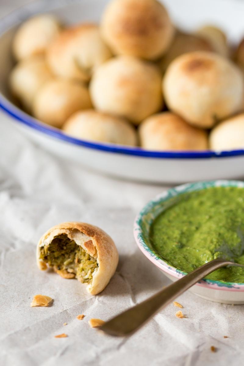 baked pea kachori with coriander chutney