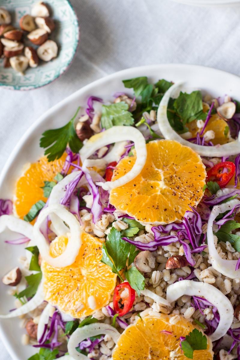 vegan fennel orange salad close up