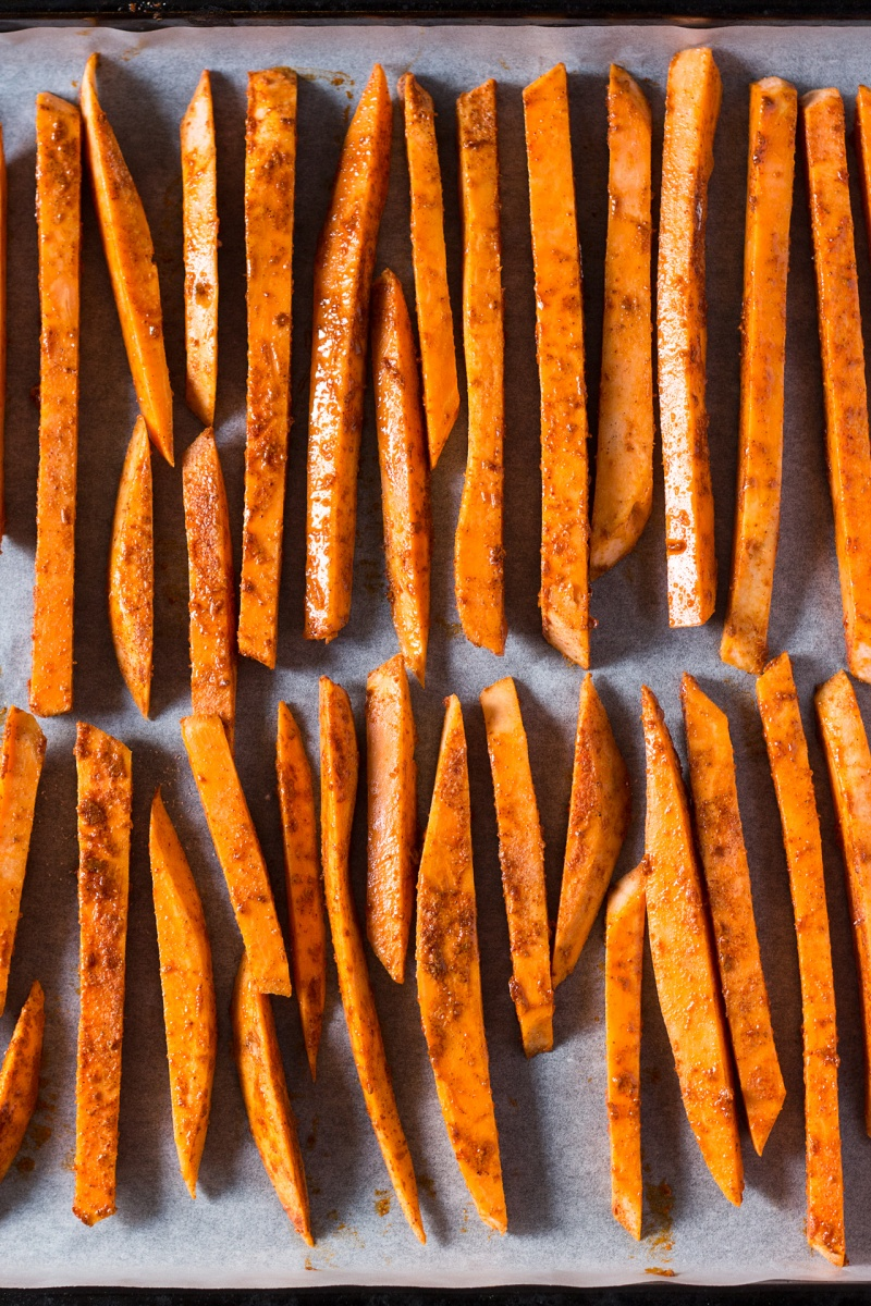 crispy sweet potato fries ready for baking