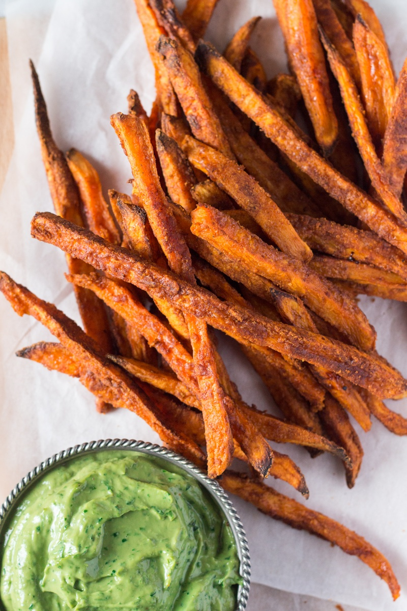 crispy sweet potato fries with avocado coriander dip