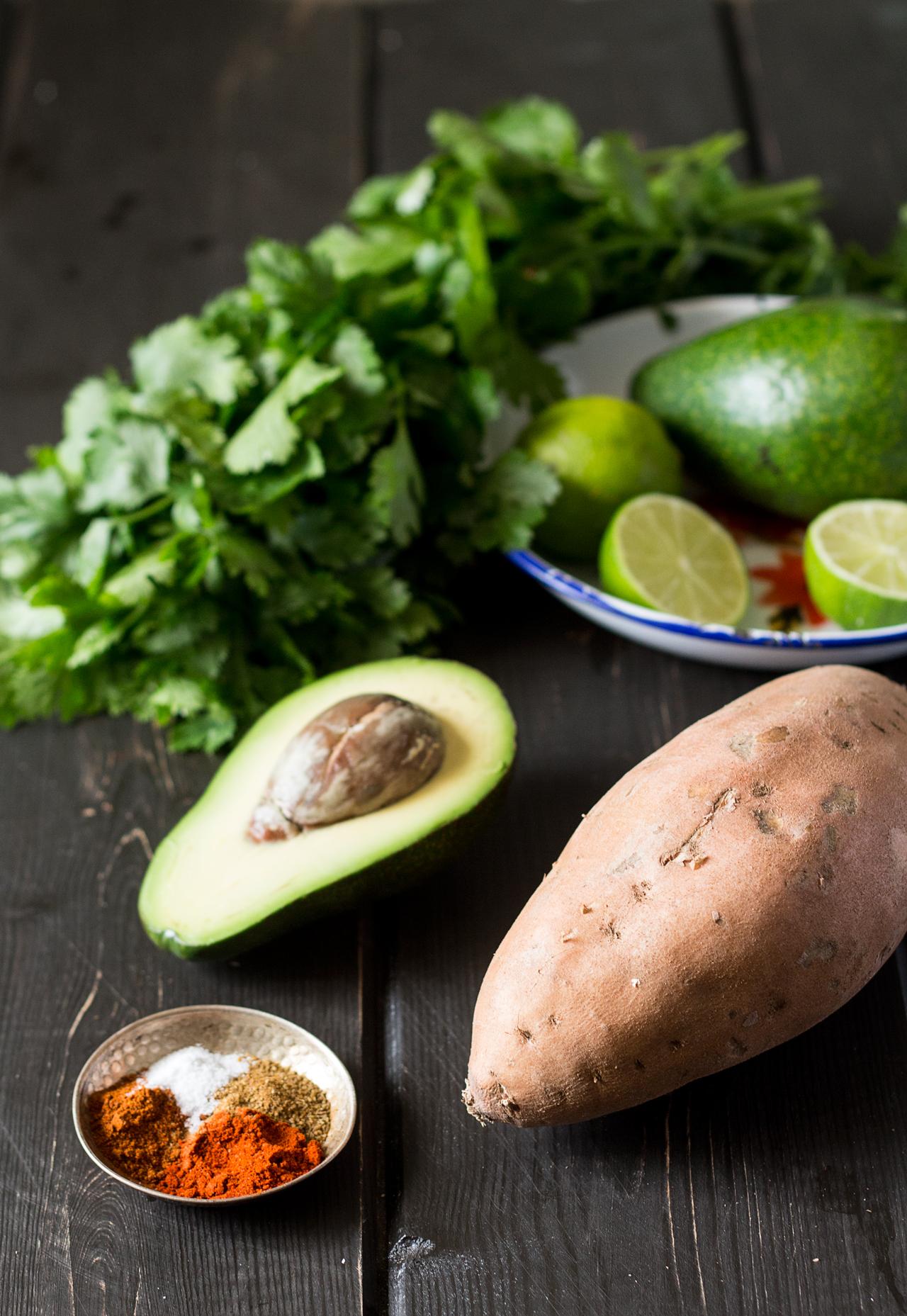 crispy-sweet-potato-fries-with-avocado-coriander-dip-ingredients