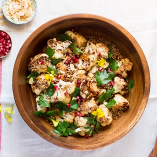 a bowl of roast cauliflower salad with balsamic maple reduction