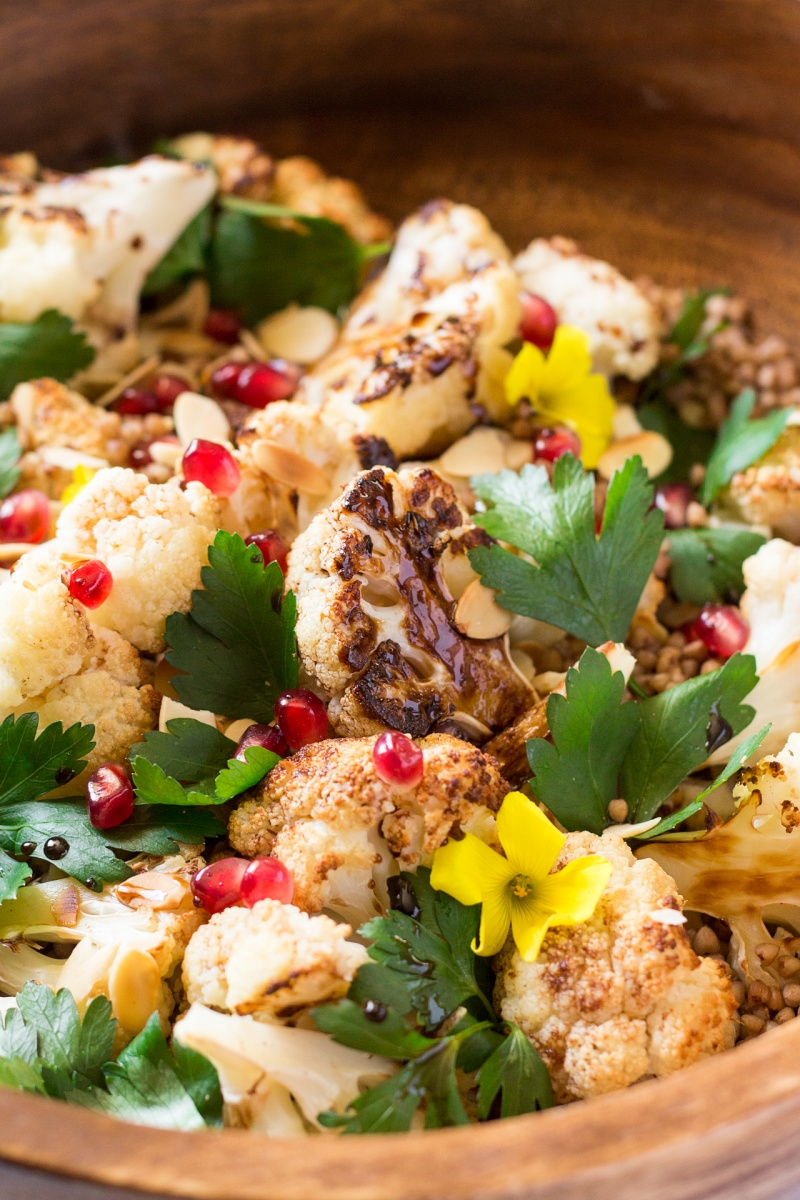 roast cauliflower salad with balsamic maple reduction