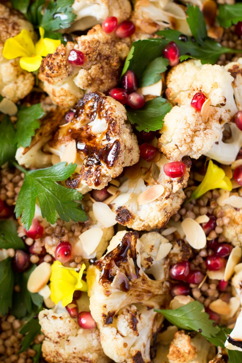 roast cauliflower salad with balsamic maple reduction close