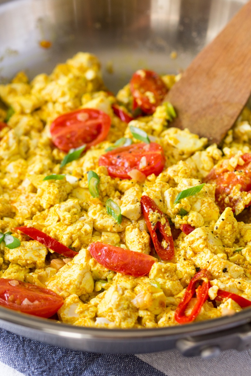 scrambled tofu in a pan