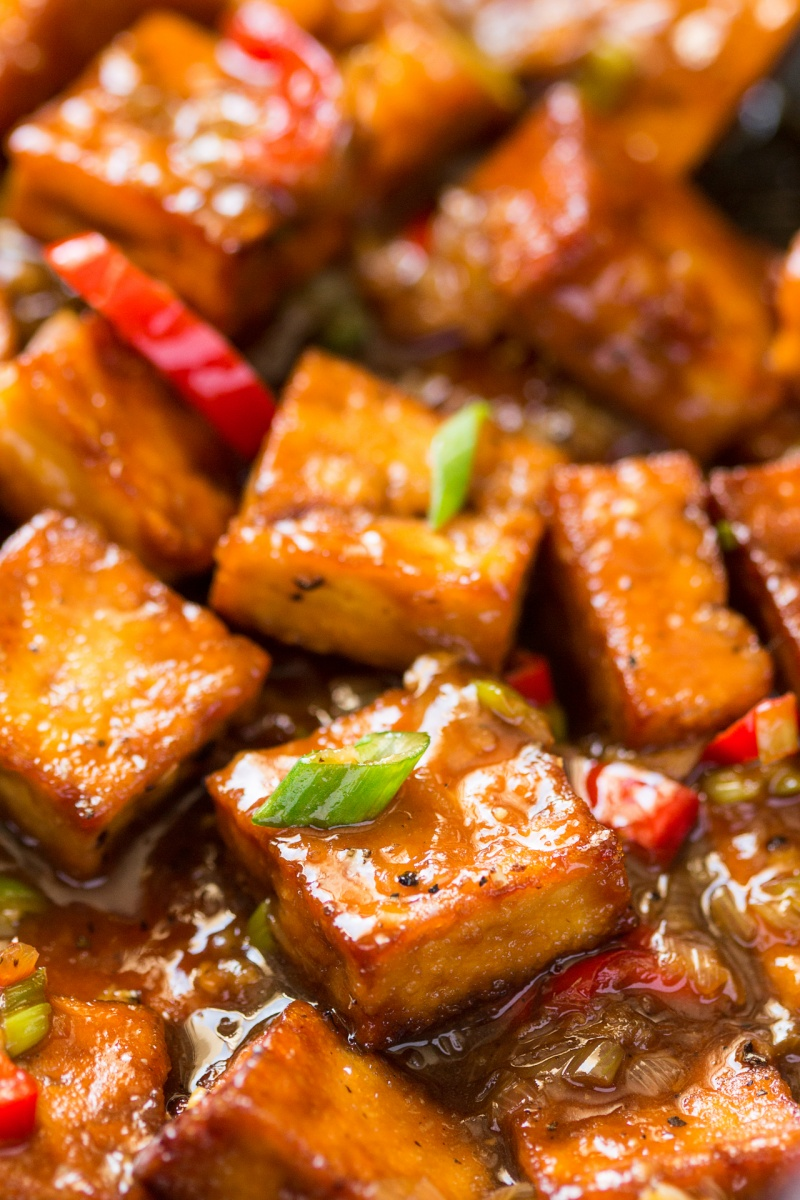 vegan black pepper tofu closeup