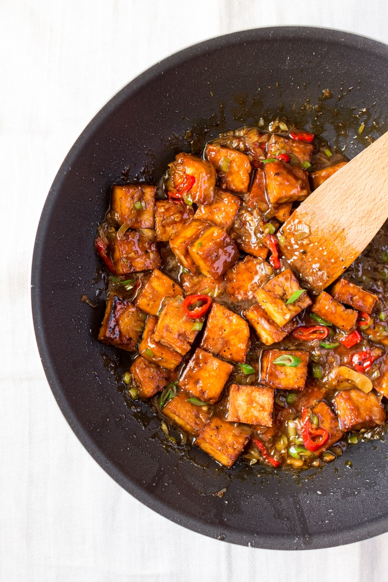 vegan black pepper tofu in a wok