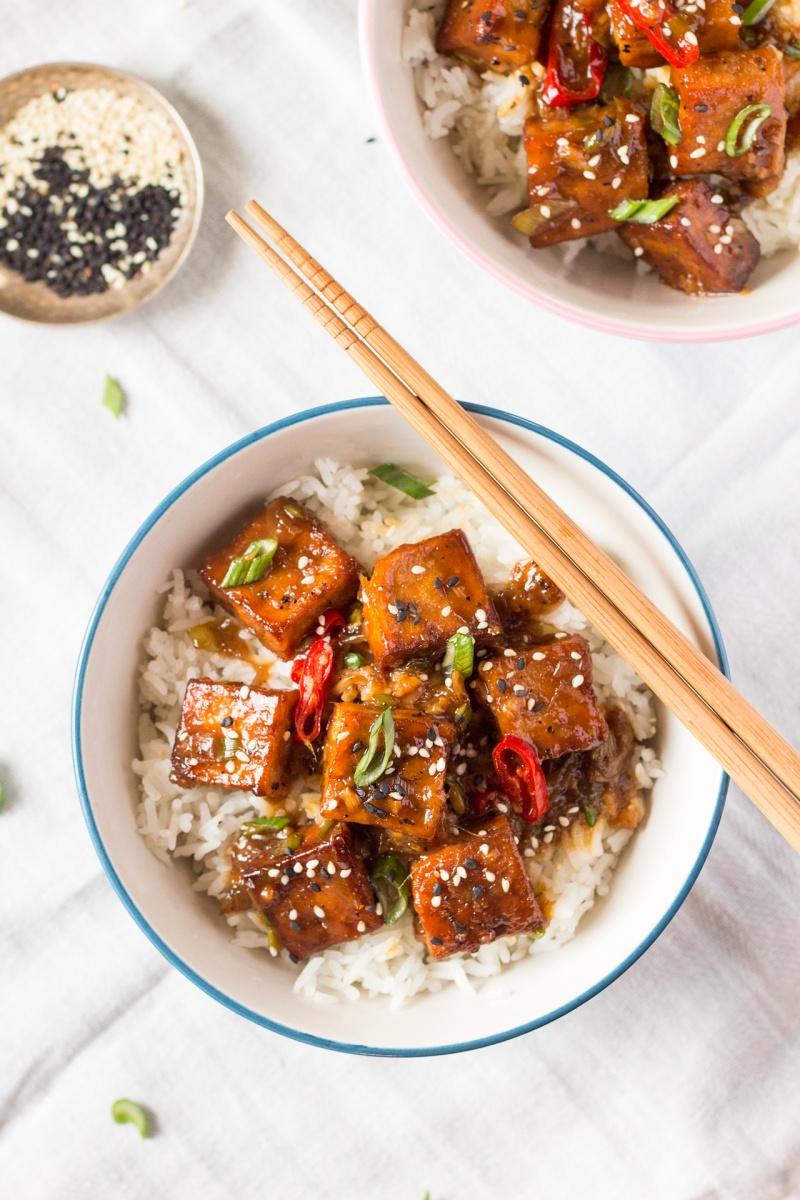 vegan black pepper tofu portion top down