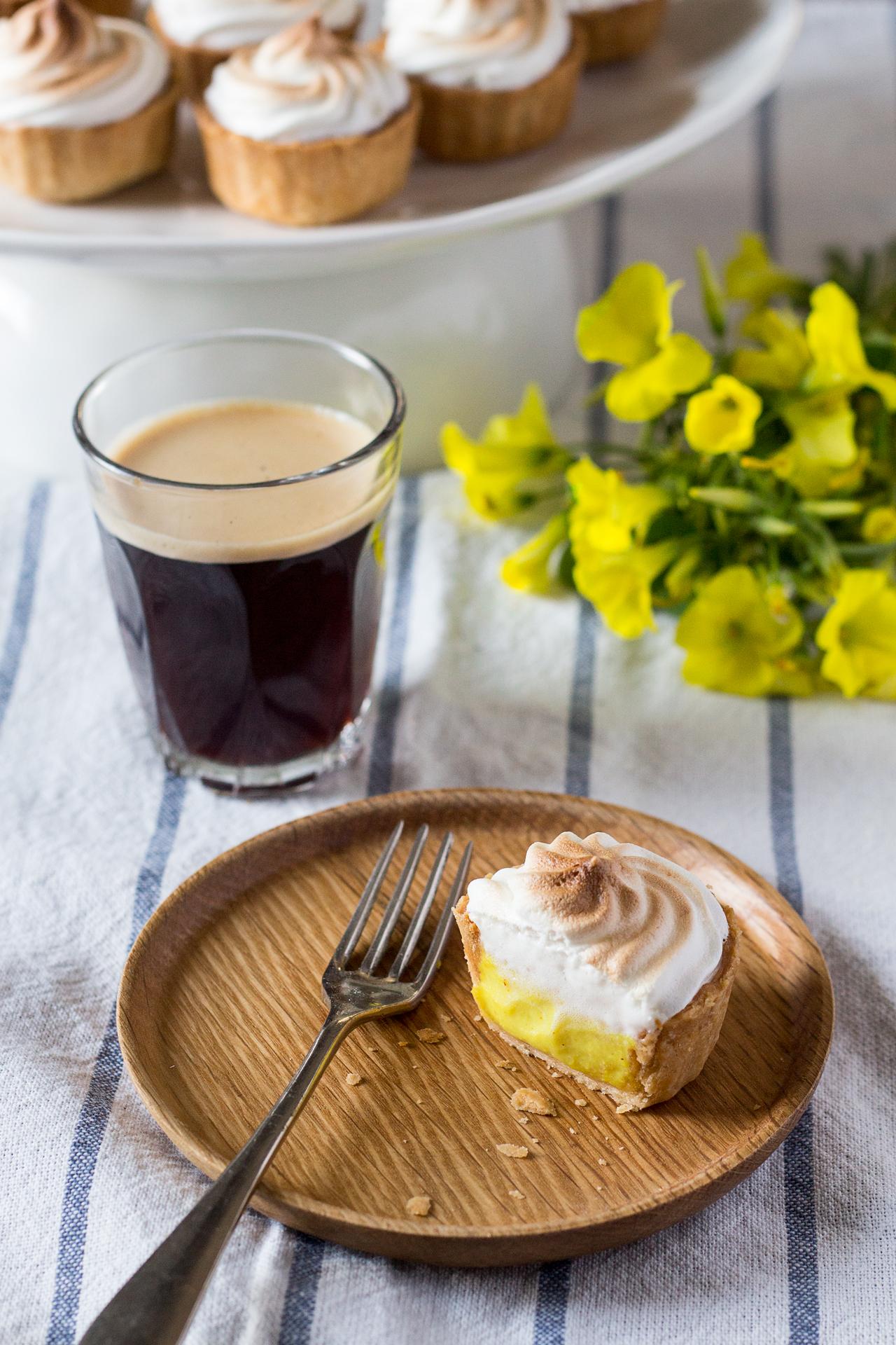 vegan lemon meringue pie and espresso
