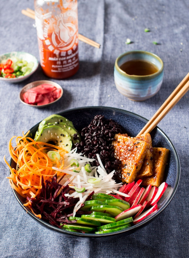 vegan sushi bowl side
