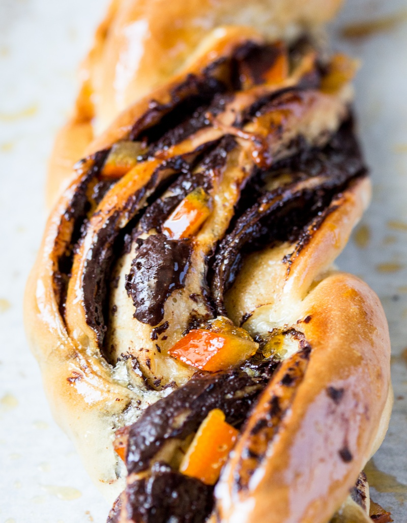 chocolate and orange twists close up