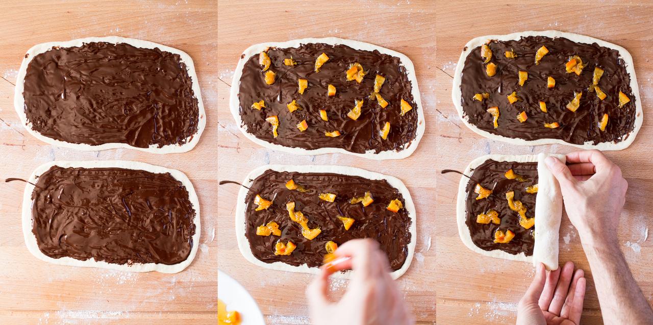 drożdżowe twisty z czekoladą i pomarańczami przygotowanie