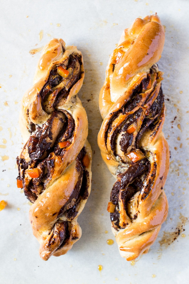 chocolate and orange twists top down