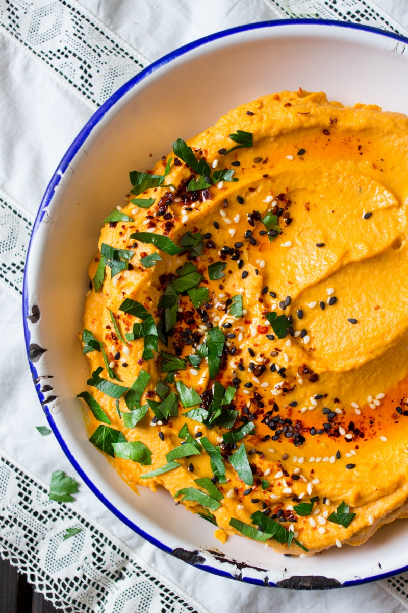 lebanese pumpkin hummus close up