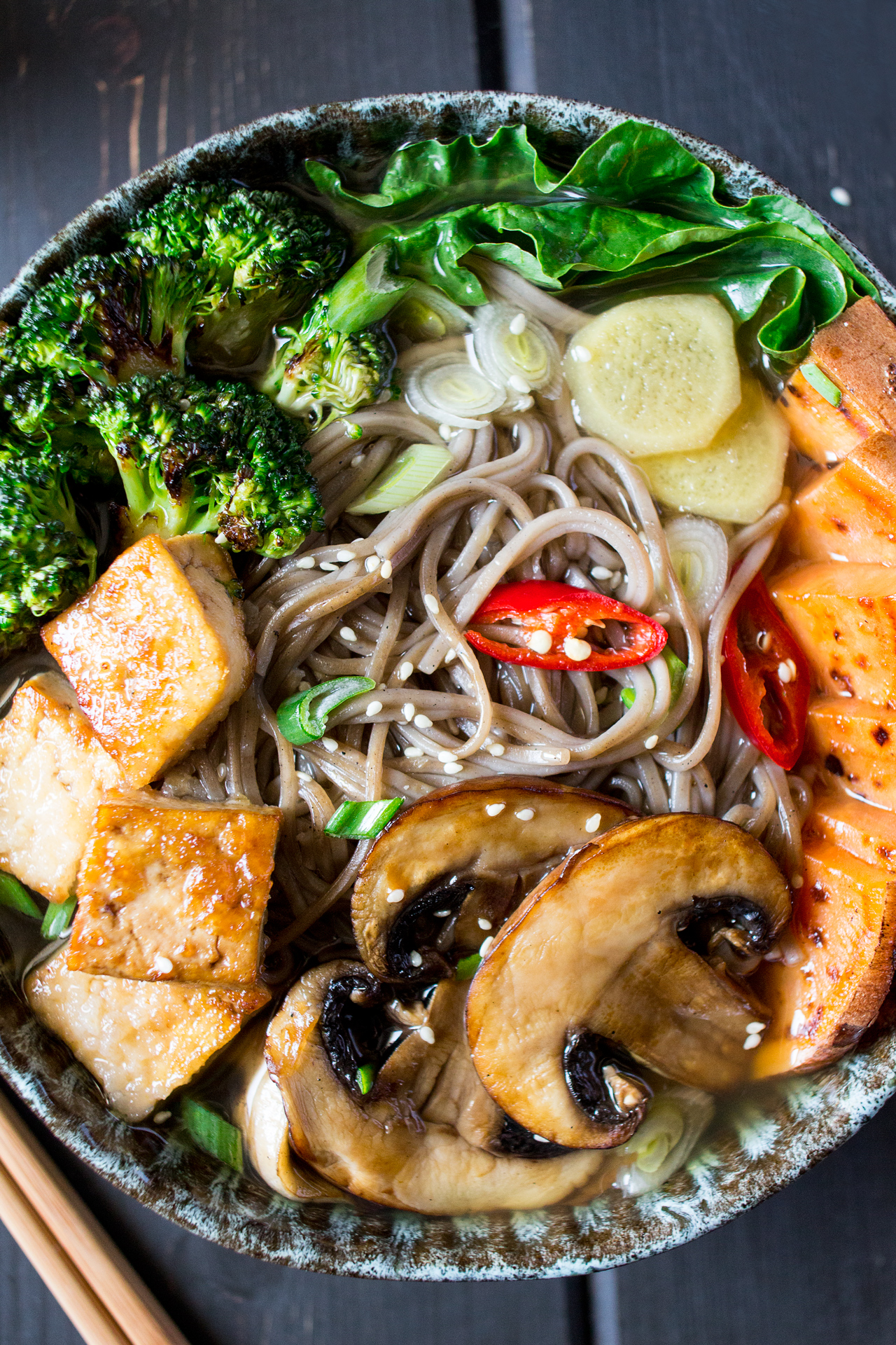 vegan ramen with grilled vegetables and tofu close up