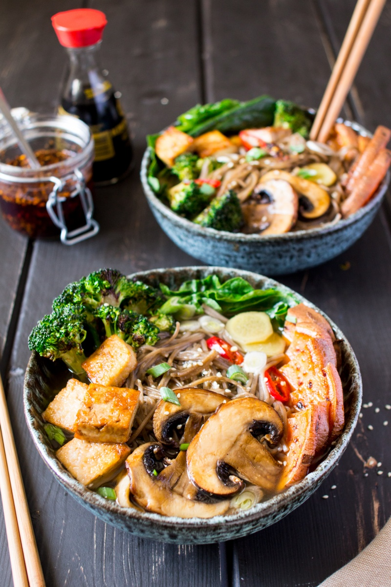 vegan ramen with grilled vegetables and tofu sideview