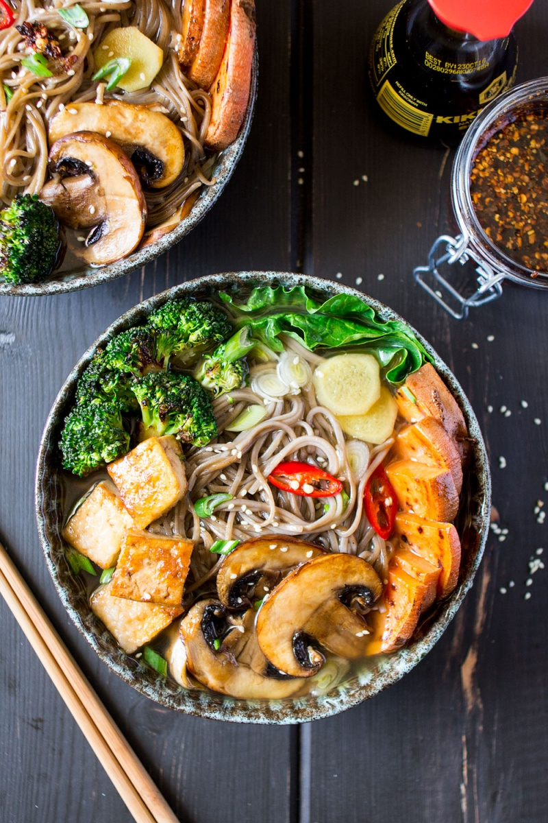 Vegan Ramen With Grilled Vegetables And Tofu Lazy Cat Kitchen