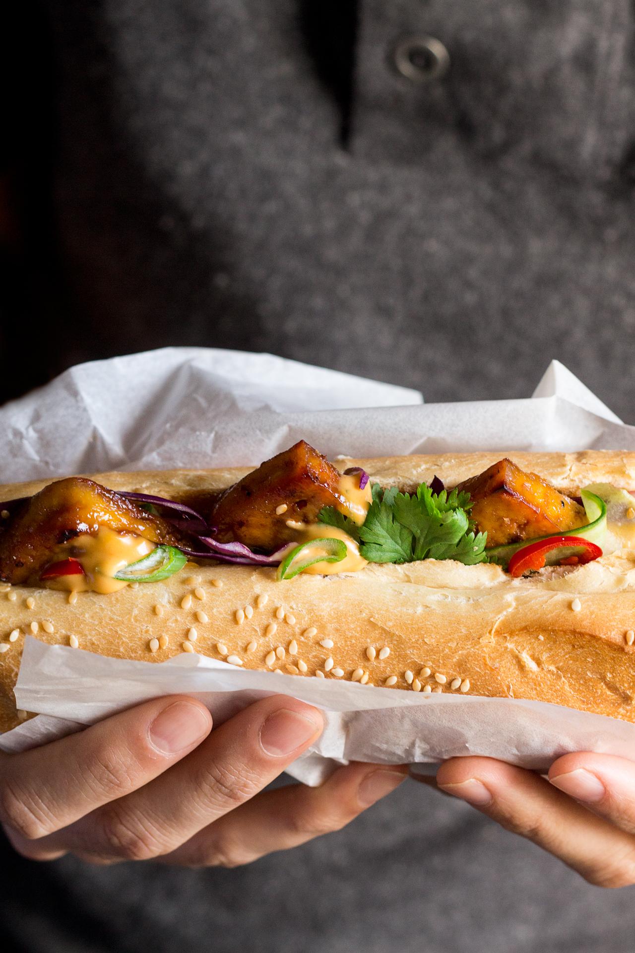 tofu bahn mi with vegan sriracha mayo mayo lunch