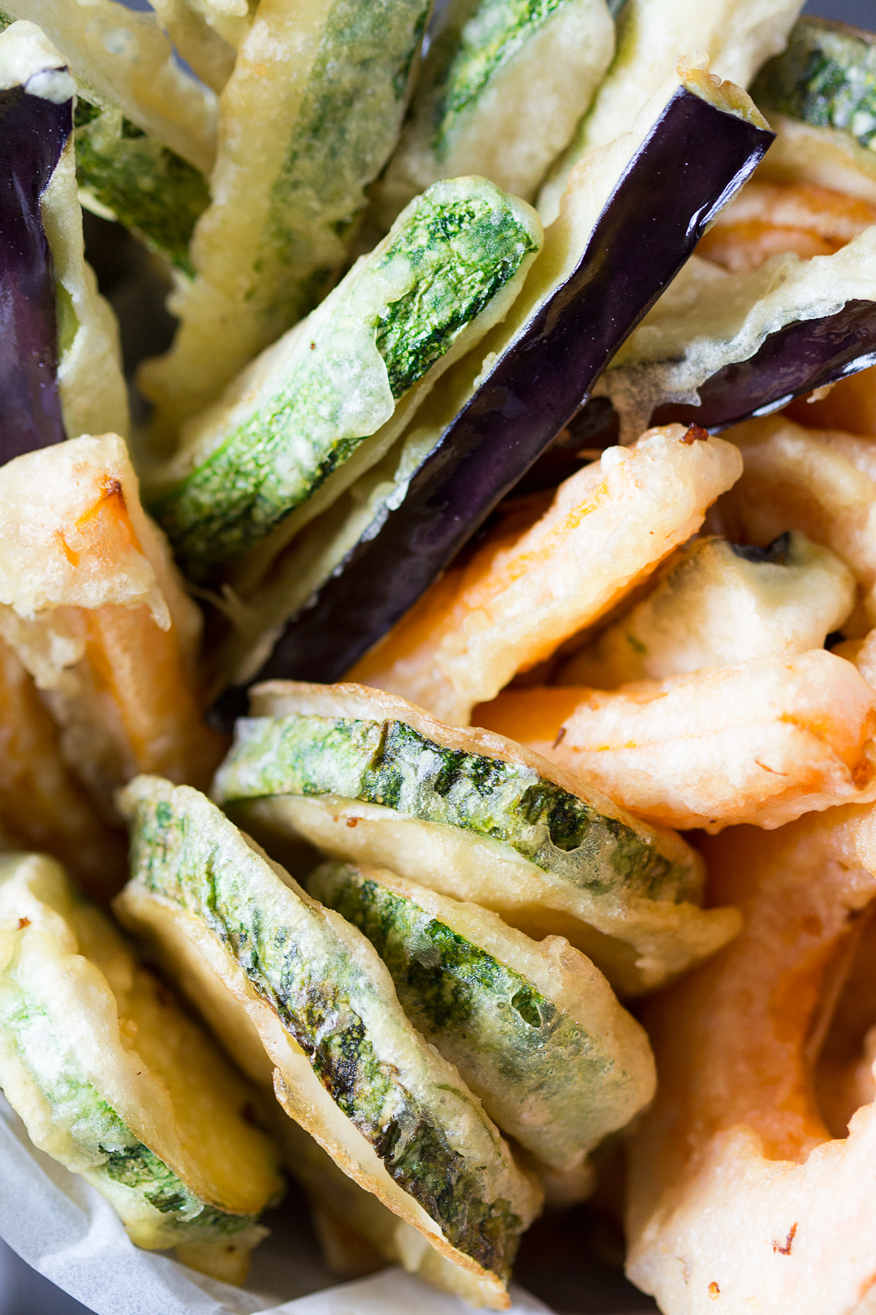 wegańska tempura z bliska