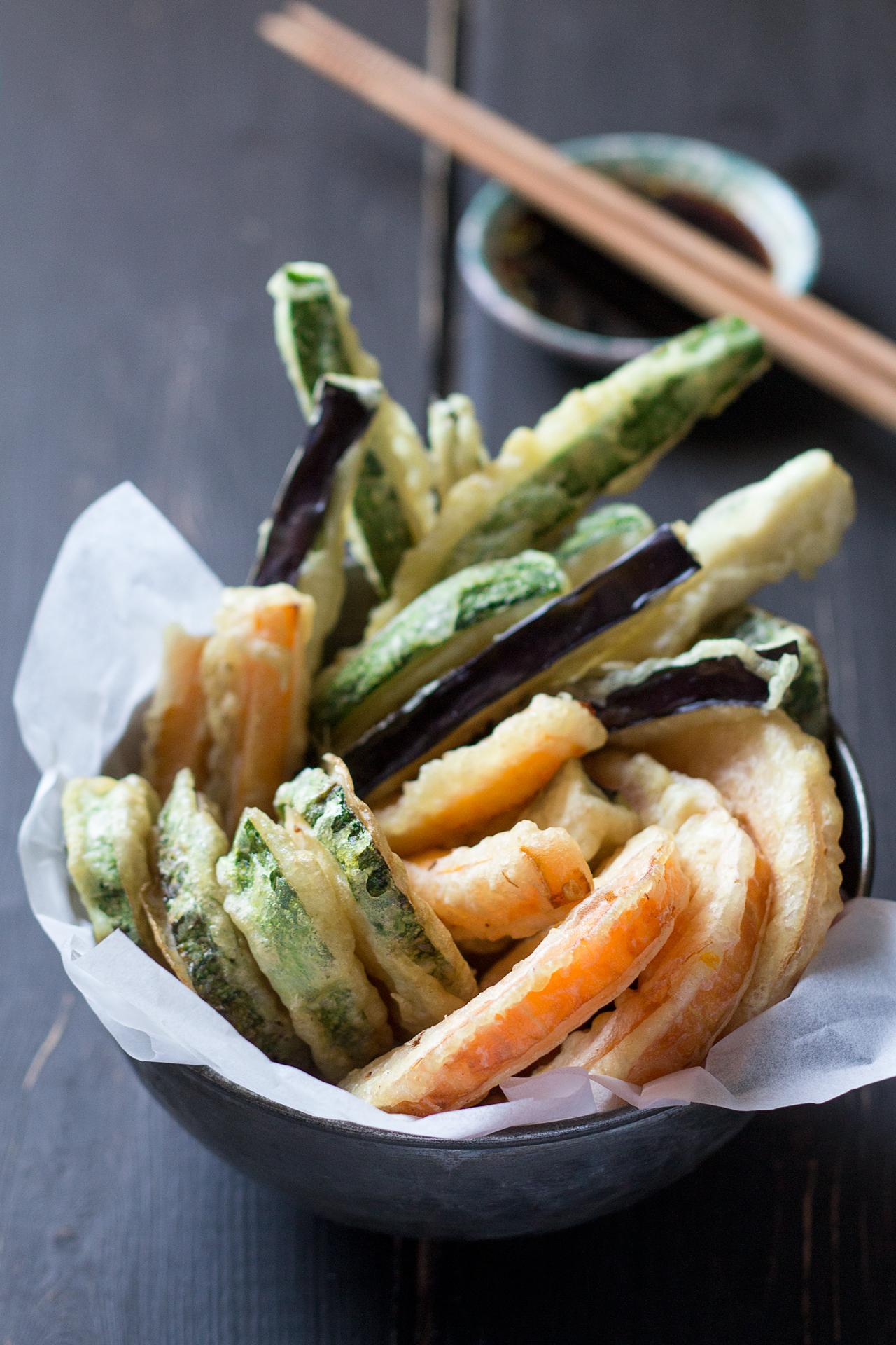 wegańska tempura z boku