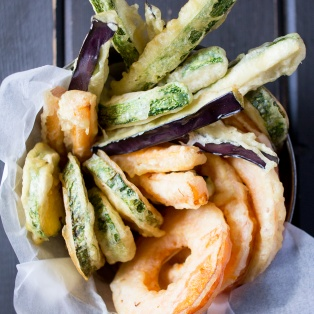 vegan tempura with a dipping sauce