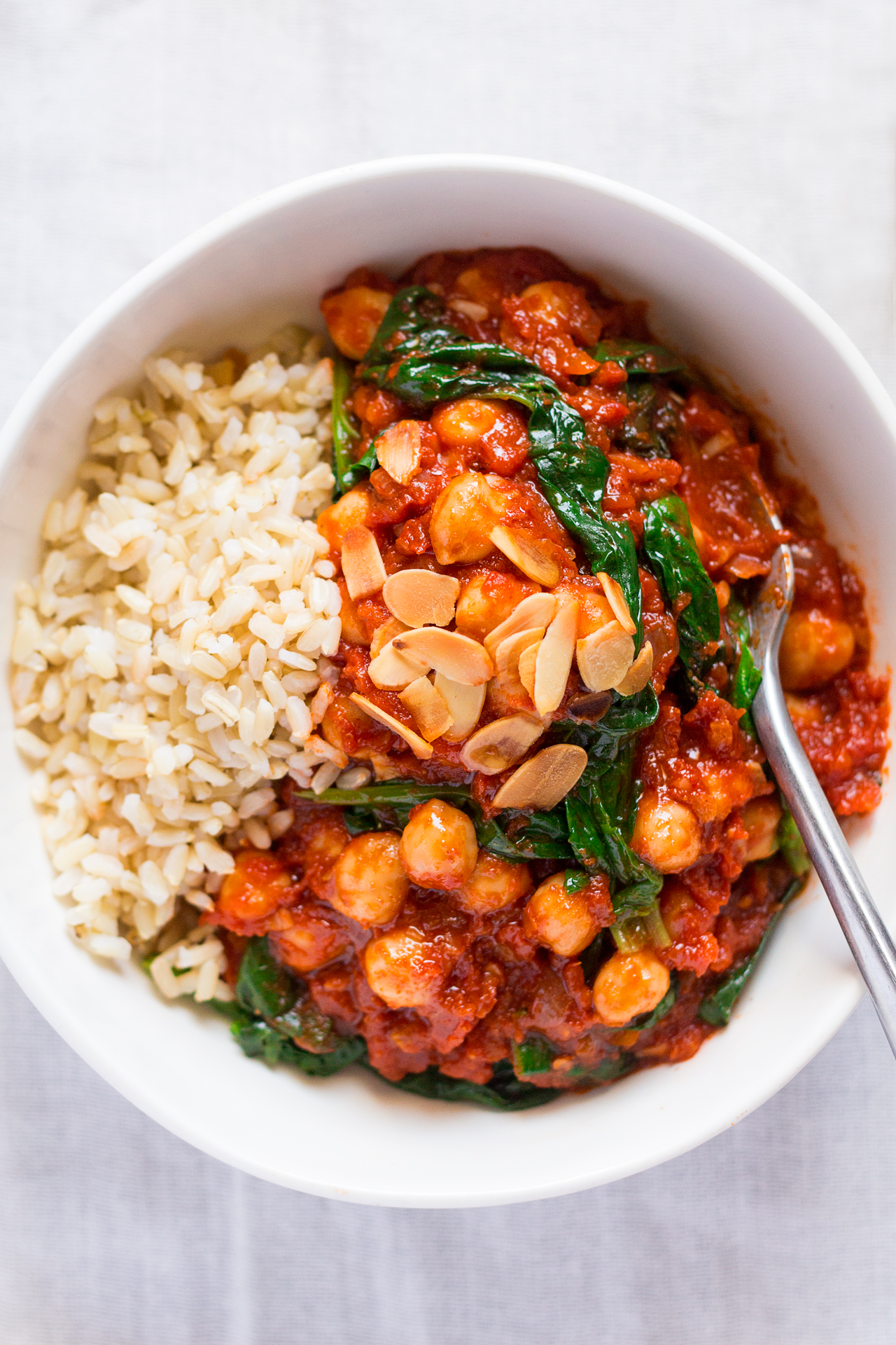Spanish chickpea and spinach stew top down