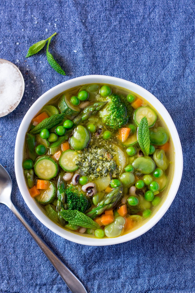 Green minestrone with mint pesto - Lazy Cat Kitchen