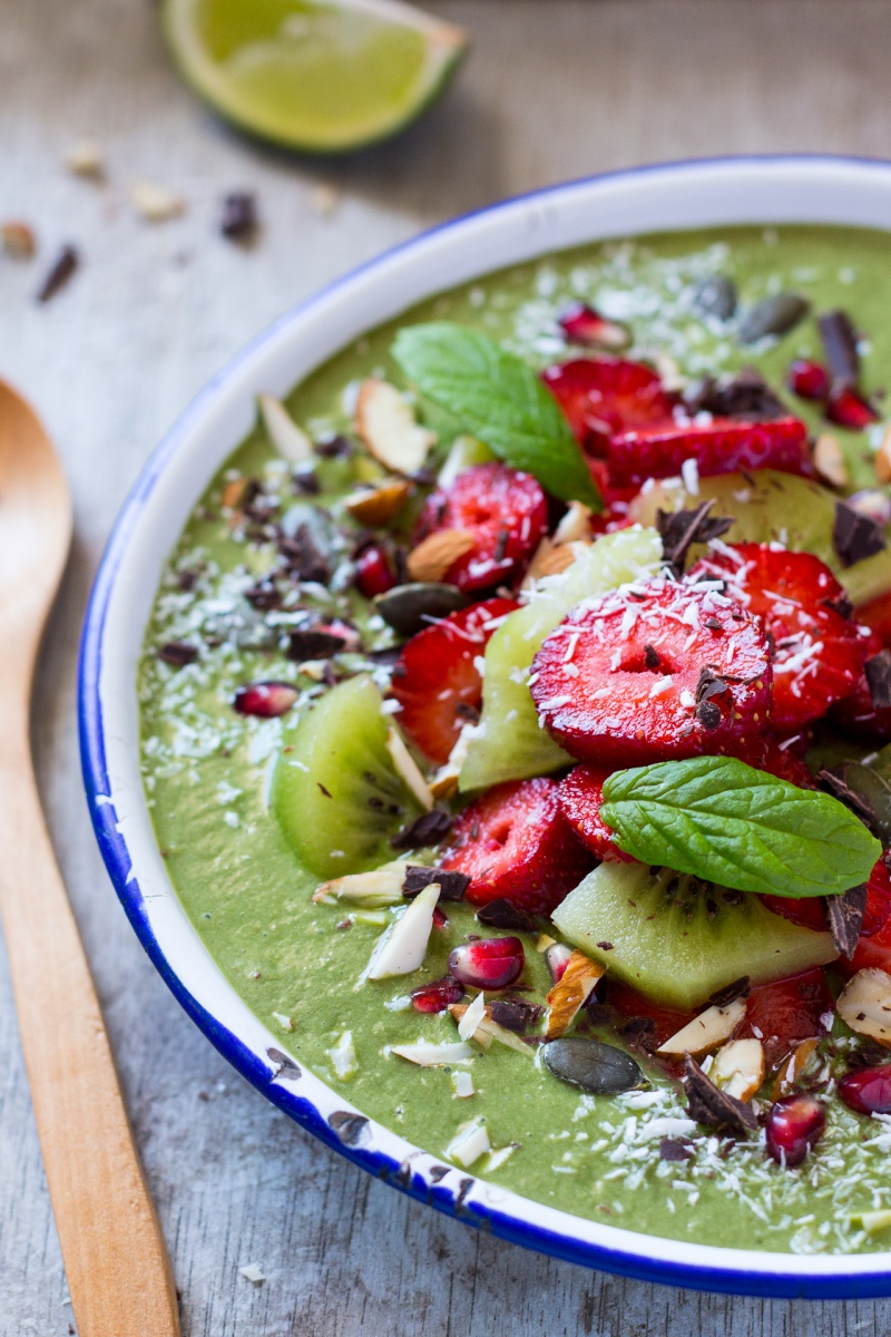 green smoothie bowl sideview