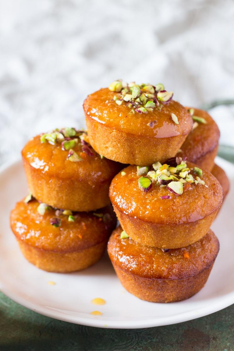 orange semolina cupcakes stack