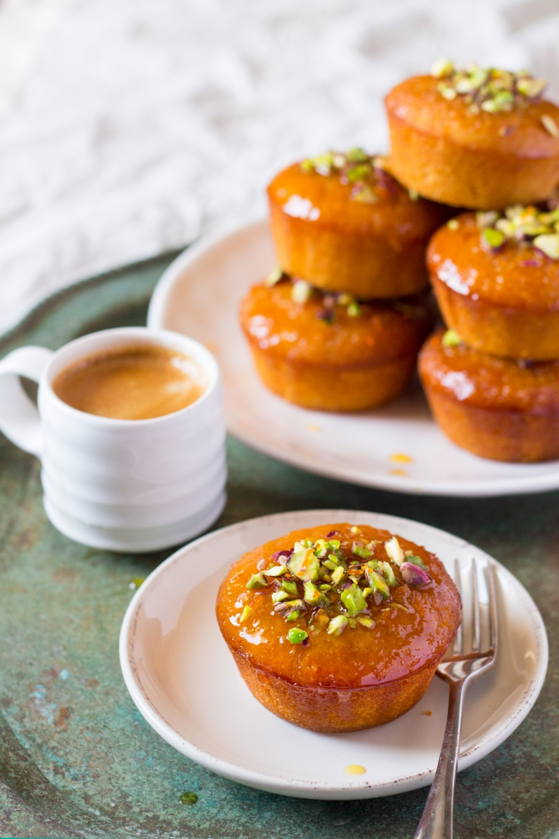 orange semolina cupcakes with coffee
