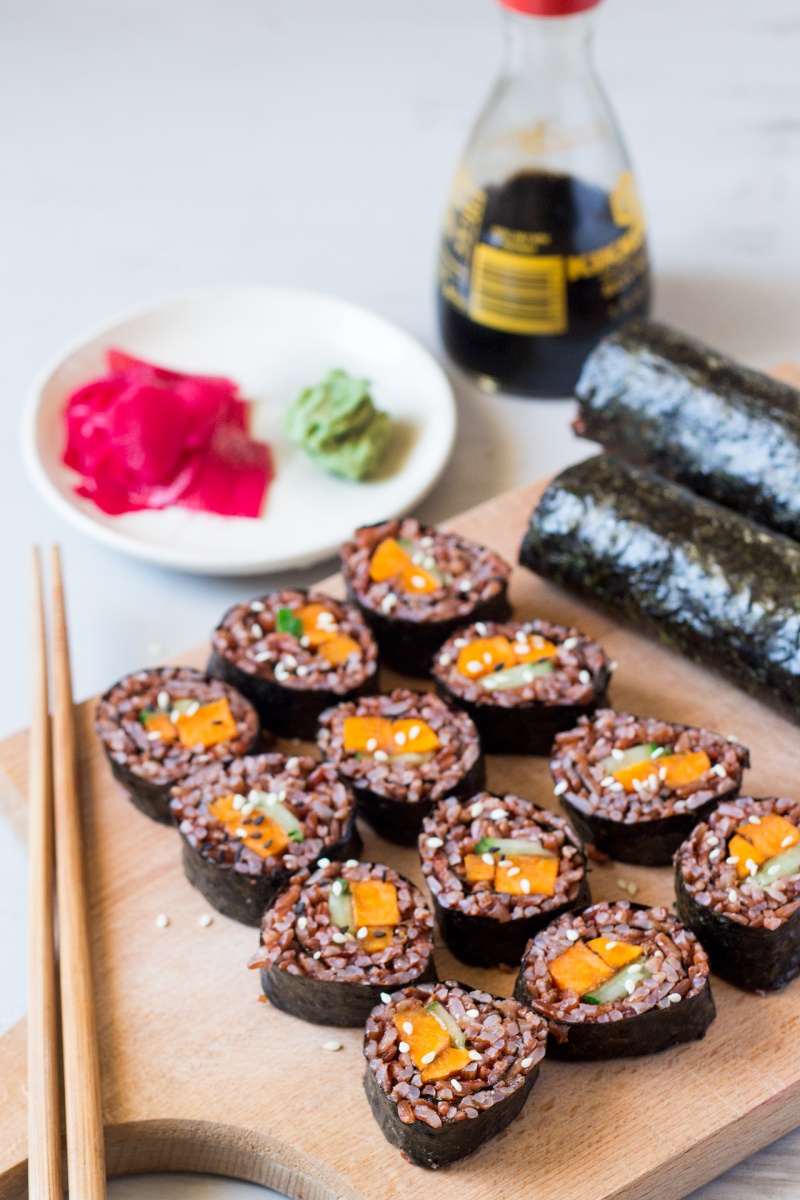 miso glazed sweet potato sushi lunch
