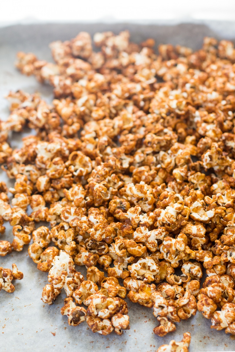 miso maple vegan popcorn after drying